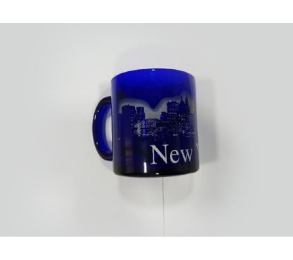 Caneca de vidro azul New York - 2
