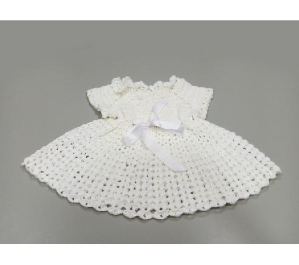 Vestido de bebê de crochê branco - 1