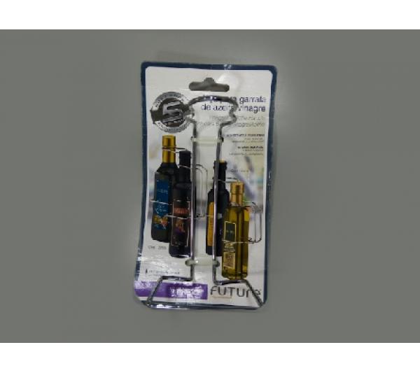 Alça para garrafa de azeite ou vinagre 500ml - aço cromado - 1